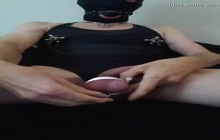 Kinky painslut stretching its nipples and peehole