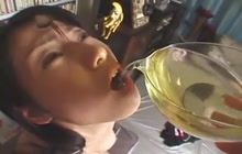 Japanese chick drinking her own pee