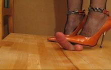Orange metal heels dick crushing