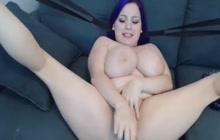 Sexy big tit dwarf plays with pussy
