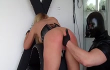Bound bitch gets spanked and fisted