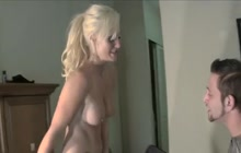 Hard ball busting by hot blonde and her man
