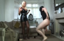 Nasty mistress gets horny when ballbusting her husband