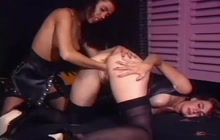 German slut fist fucked in threesome