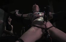Slender fetish bitch bound up and used