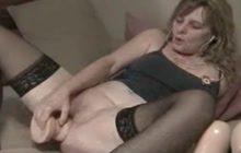 Dirty mature slut loads monster toy