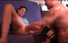 Bottle fucking and fisting for amateur wife