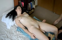 Pleasing dirty hooker with a machine