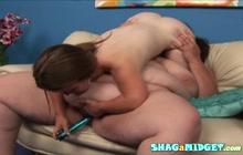 BBW slut and dwarf lesbian fucking