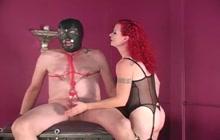 Redhead mistress busting balls